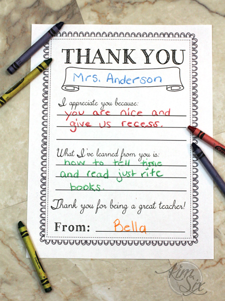Printable Teacher Thank You Note