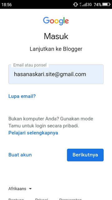 Hasan Askari: Tutorial Blogger Lengkap Menggunakan HP - #4 Mendaftar dan Membuat Blog - gambar 2