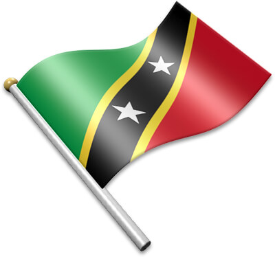 The Kittitian flag on a flagpole clipart image