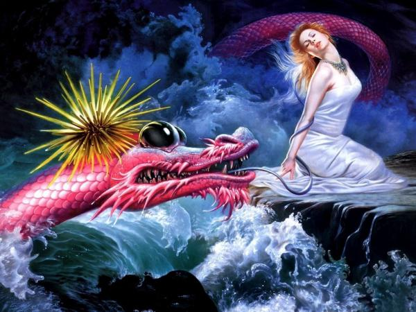 Red Dragon In Waves, Dragons