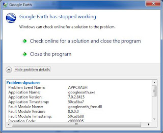 Google Earth Fails To Initialize Not Responding Win 7 64 Bit