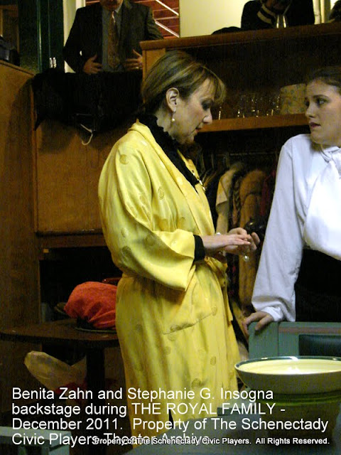 Benita Zahn and Stephanie G. Insogna backstage during THE ROYAL FAMILY - December 2011.  Property of The Schenectady Civic Players Theater Archive.