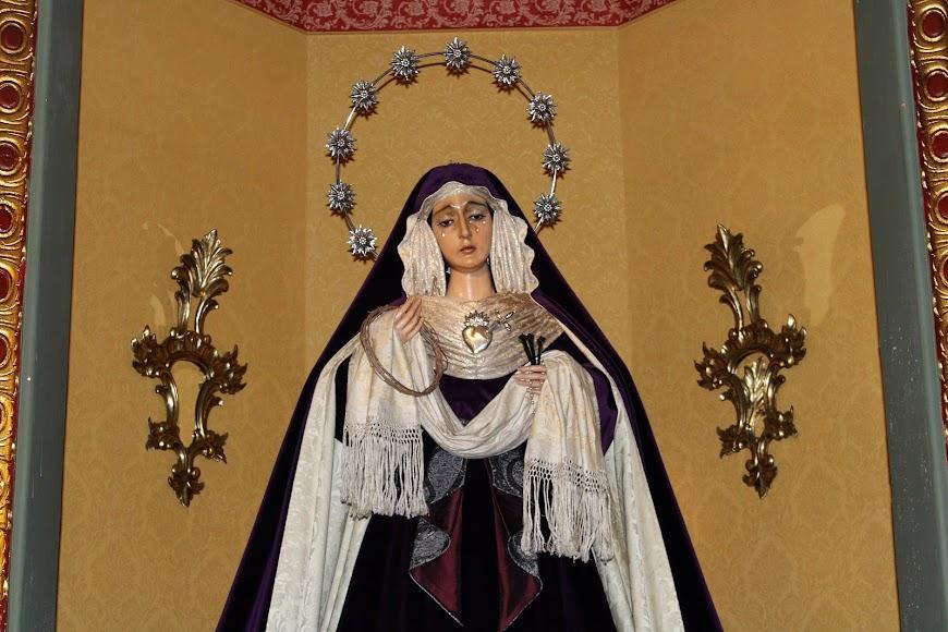 La Virgen de los Dolores, Santo Sepulcro, vestida de hebrea para el tiempo de Cuaresma.