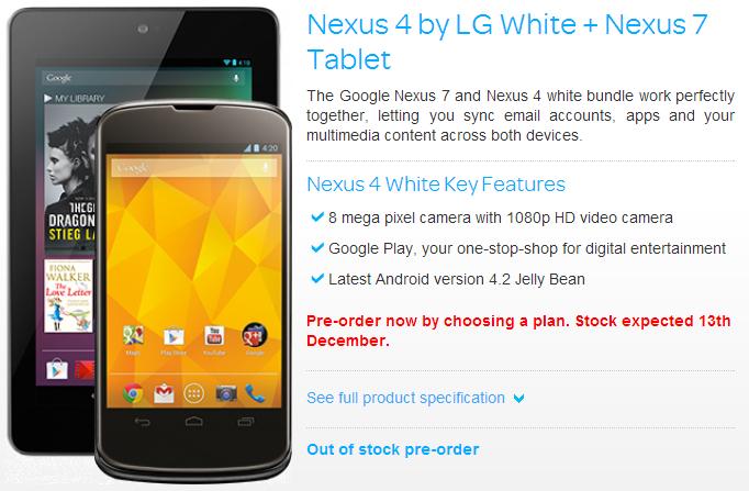 Nexus 4 by LG White + Nexus 7 Tablet