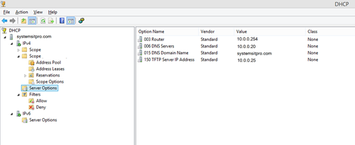 How to configure DHCP for PXE Booting on WDS or SCCM 2012/2016