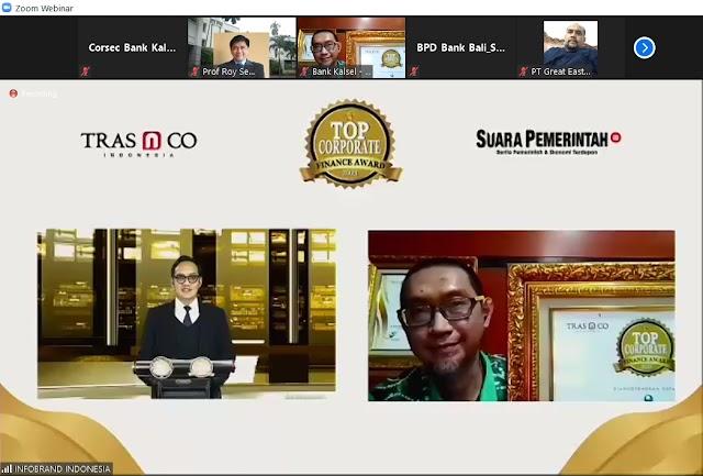 Apiknya Kinerja Keuangan dan Corporate Brand, Bank Kalsel Terima TopCorporate Finance Award 2021