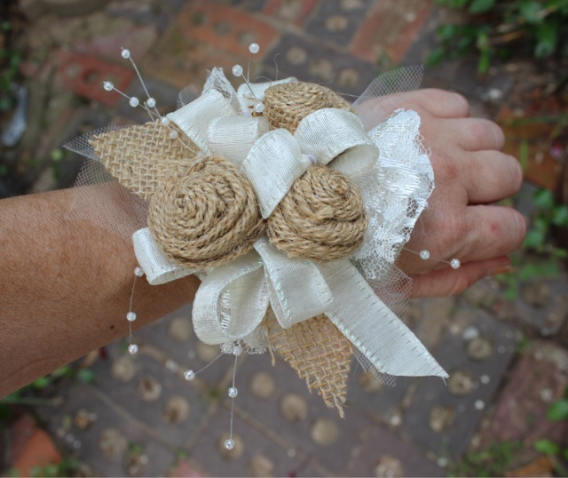 Rustic wedding corsages