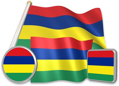 Mauritian flag animated gif collection