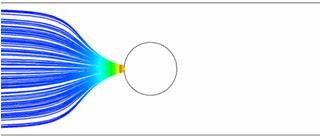 Взаимодействие жидкости с ферромагнитными частицами с внешним магнитным полем electromagnetics@cfx.. Линии тока стальных частиц при М=10-9 А/м