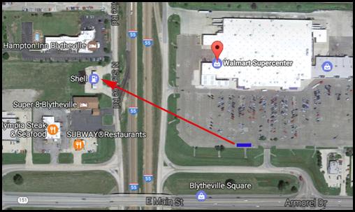 Map of Shell Station to Walmart - Blytheville Tornado Wind Damage