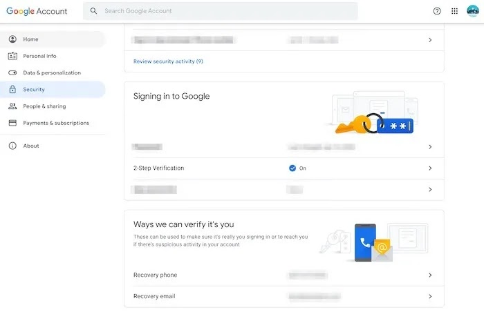 استعادة نصائح أمان حساب Gmail