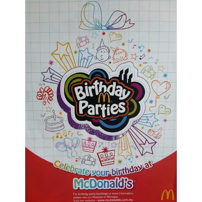 PAKEJ BIRTHDAY PARTY DI MC DONALD'S 2016