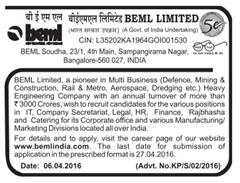 BEML India Recruitment 2016 indgovtjobs