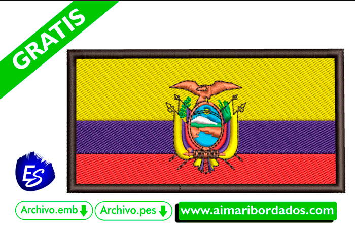 Bordado Bandera del Ecuador descargar gratis