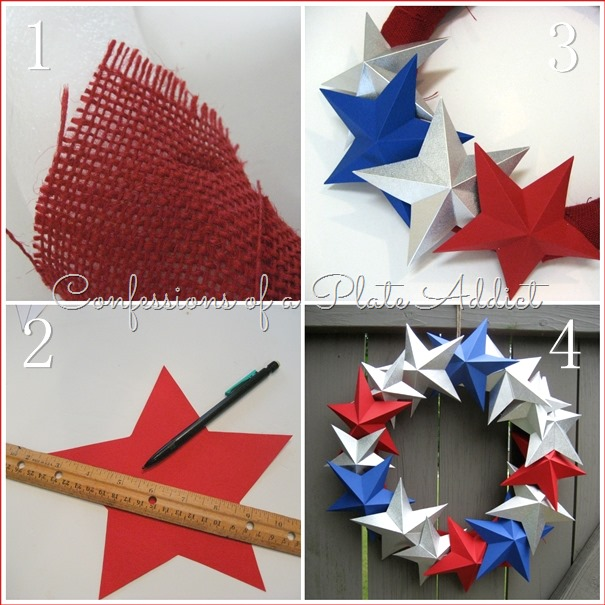 CONFESSIONS OF A PLATE ADDICT Pottery Barn Inspired 3-D Paper Star Wreath tutorial