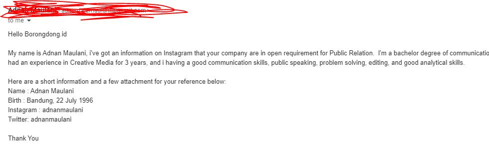 email lamaran kerja bahasa Inggris