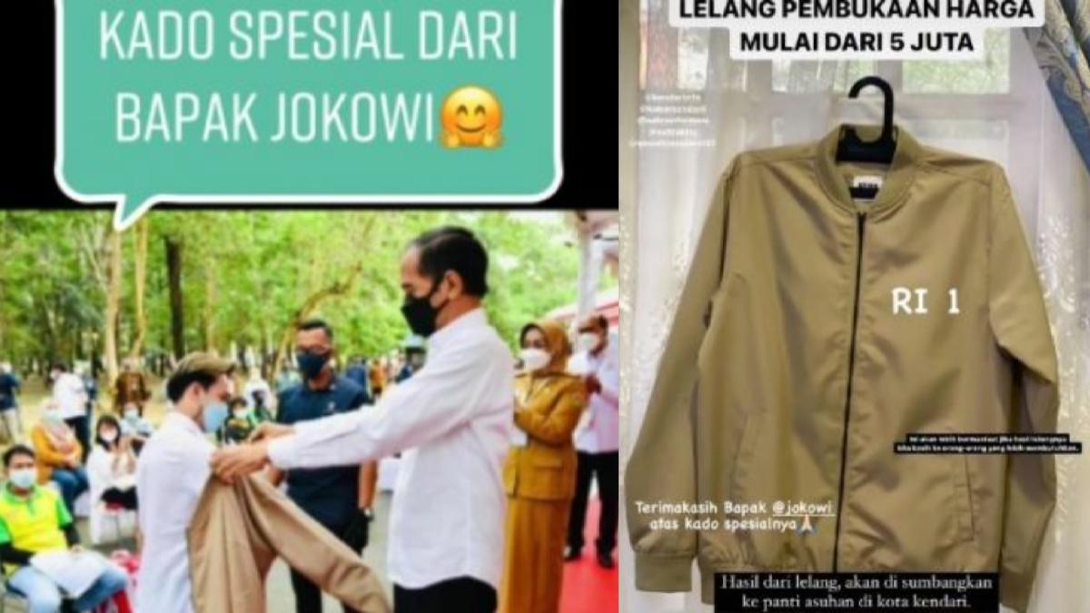 Pemuda Diberi Jaket Jokowi saat Antre Vaksin, Kini Dilelang Start Harga Rp 5 Juta