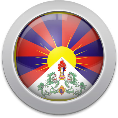 Tibetan flag icon with a silver frame