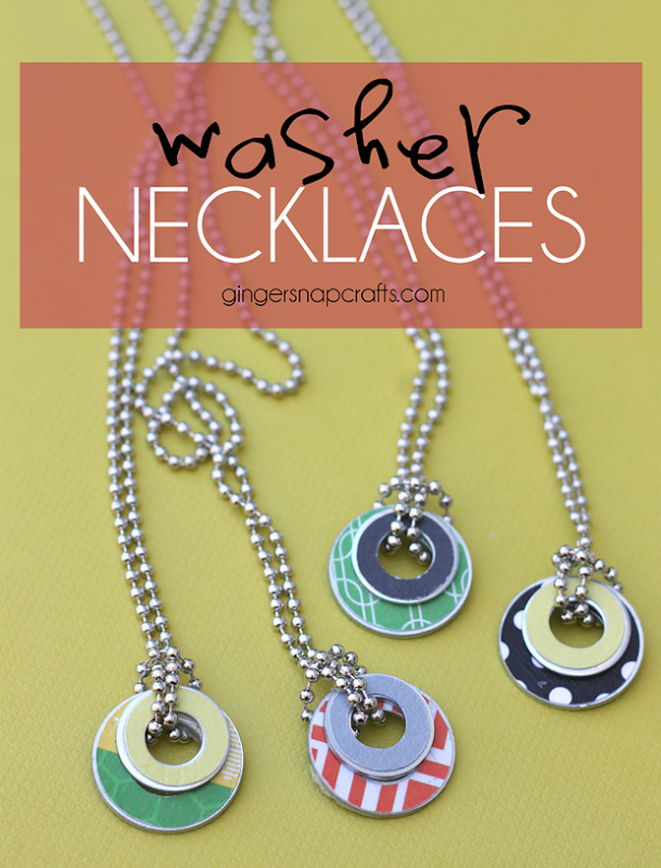 washer necklaces at GingerSnapCrafts.com #kidcrafts #crafts