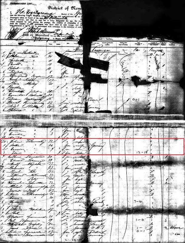 TALAROWSKI_John-Bertha-Erwin-Ida NY passenger record 1890_Germany to NY