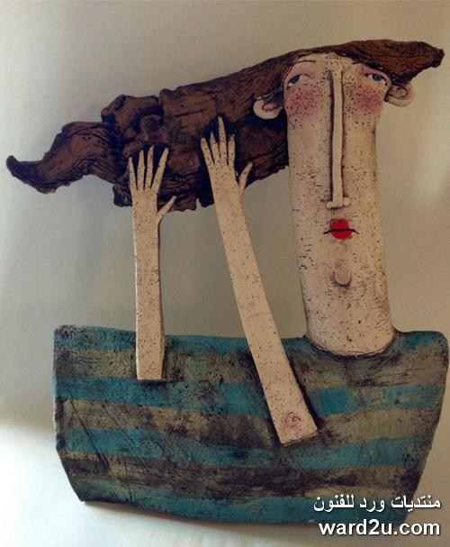 اشجار في بورتريهات تعبيرية ابداع الخزافة Sarah Saunders