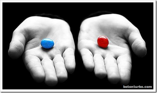 Pastilla azul o roja
