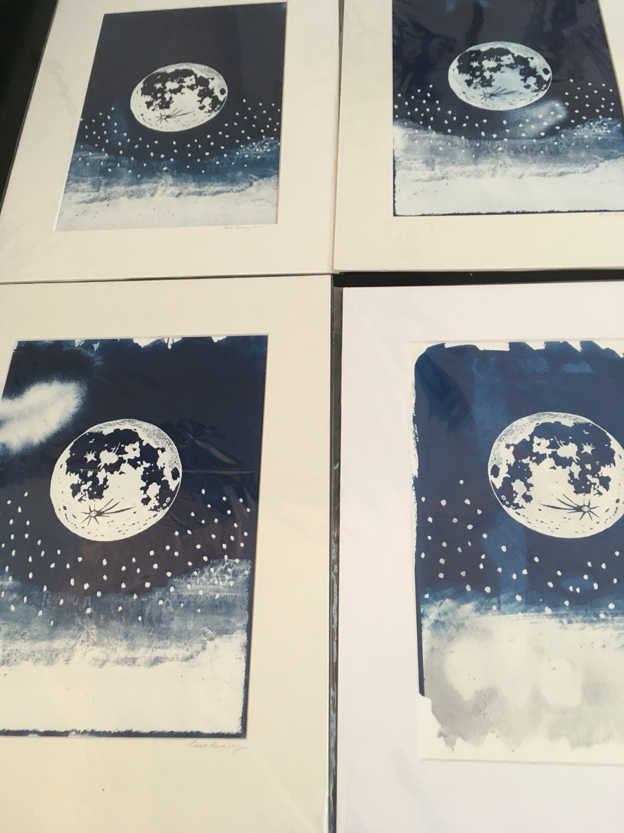 Moon over clouds: cyanotype prints
