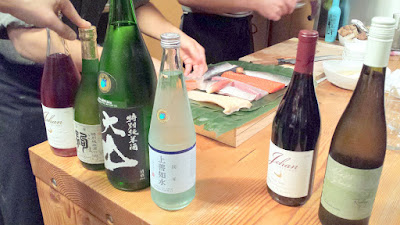 Wine and Sake options curated by Paul Willenberg for Nodugoro Hardcore Omakase Sushi night