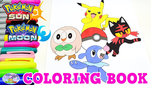 Pokemon Sun Moon Coloring Book Pikachu Episode Speed Colouring Surprise Egg  And Toy Collector Setc