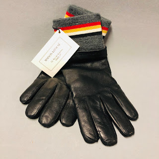 Maison Kitsuné NEW Ribbed Leather Gloves
