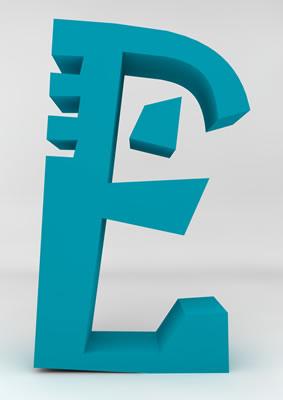 lettre 3D homme joker turquoise - E - images libres de droit