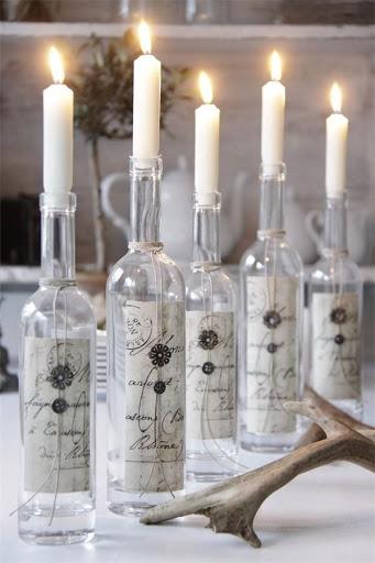 Decoração com garrafas reciclável, castiçal