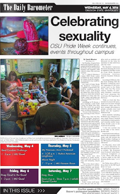 Front page Barometer, May 4, 2016, OSU Pride Week make your own sex toys