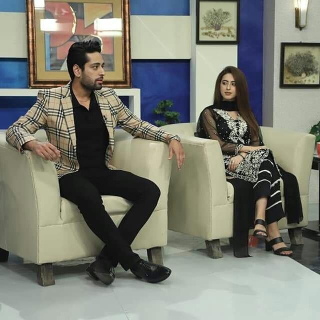 Salman Saeed and his wife Aleena Salman at Nadia Show