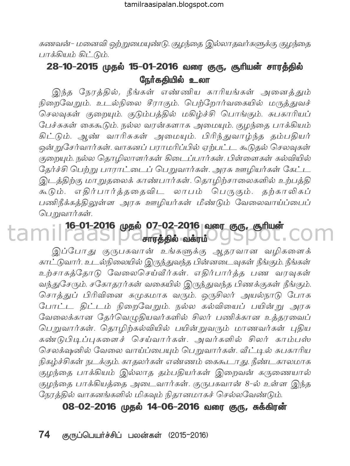 Makaram Guru Peyarchi Palan-2015-2016 Free Online