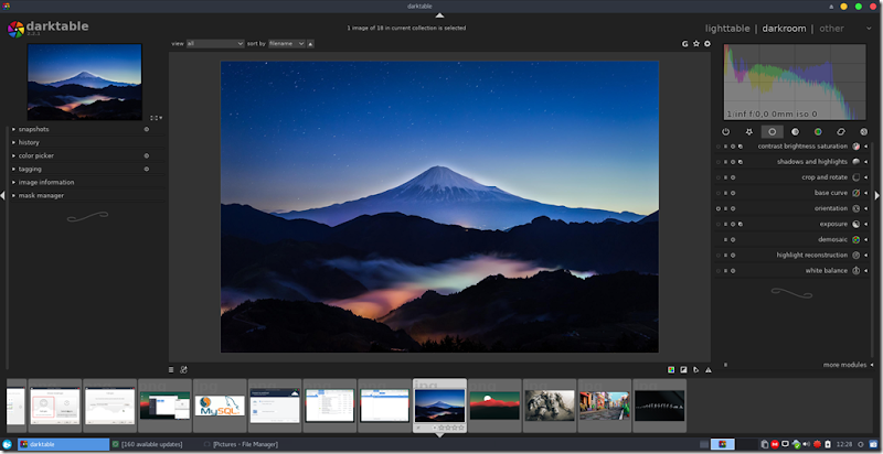 Darktable 2 2 2 is available, install it on Manjaro 16 10