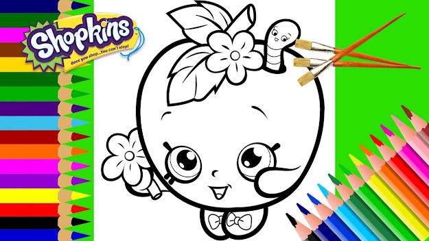 Learning Color For Kids  Shopkins Apple Blossom Cupcake Petal Coloring  Pages For Girls