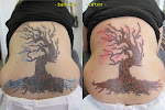 Tree add-on and lightening (original tattoo by another shop)