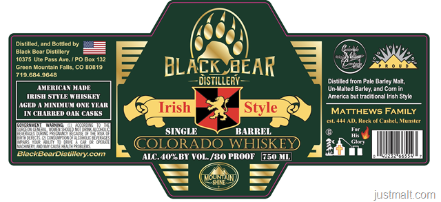 Black Bear Distillery Irish Style Colorado Whiskey