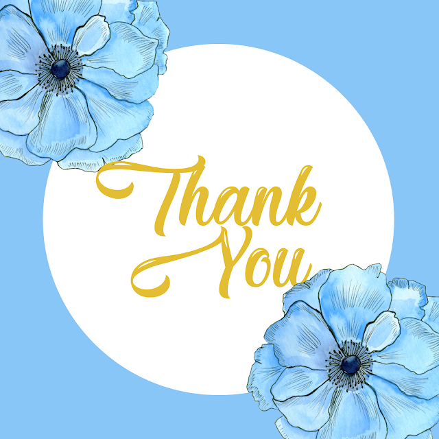 10 Free Printable Thank You Cards - Floral Blue Watercolor Beautiful Designs