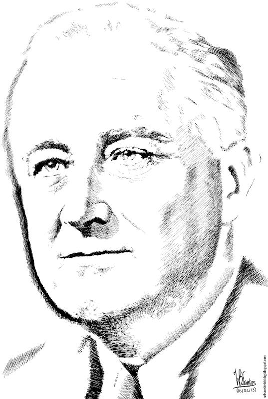 Ink drawing of Franklin Roosevelt, using Krita 2.5.