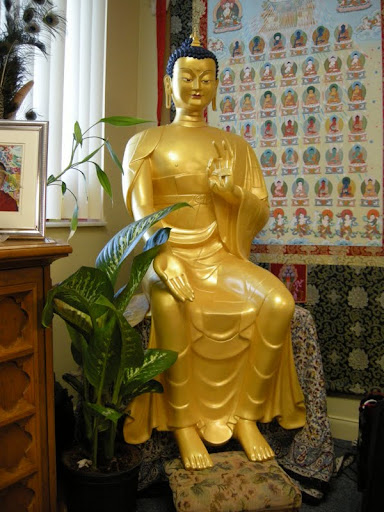 Maitreya statue at Tubten Kunga Tibetan Buddhist Center for Wisdom Culture, Deerfield Beach, Florida, USA, May 2012