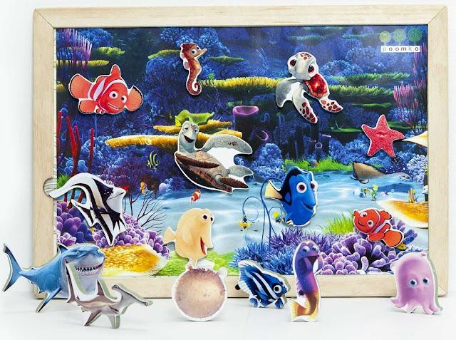 Đồ chơi Poomko G10 Hình Sinh vật biển bằng gỗ nam châm kèm 1 bảng từ và ảnh nền