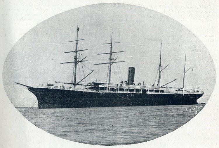 El ALFONSO XIII en estado de origen. De la revista La Vida Maritima. Año 1902.JPG