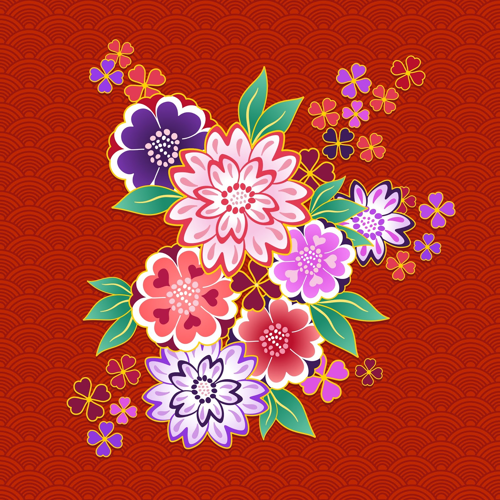 Decorative Kimono Floral Motif Red Background Free Download Vector CDR, AI, EPS and PNG Formats