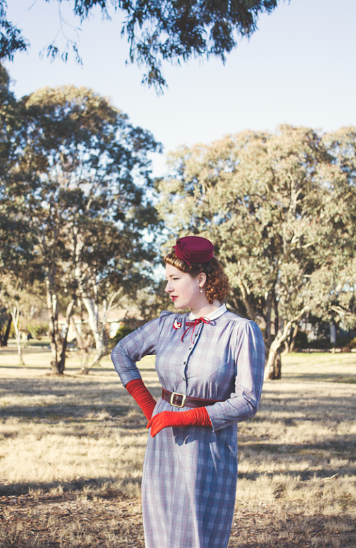 Grey, black and red 1940's vintage ensemble | Lavender & Twill