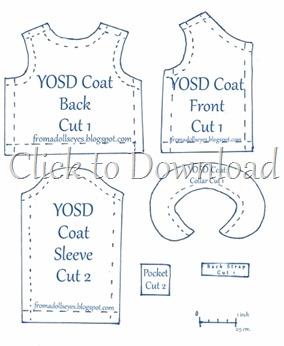 Yosd bjd felt coat pattern