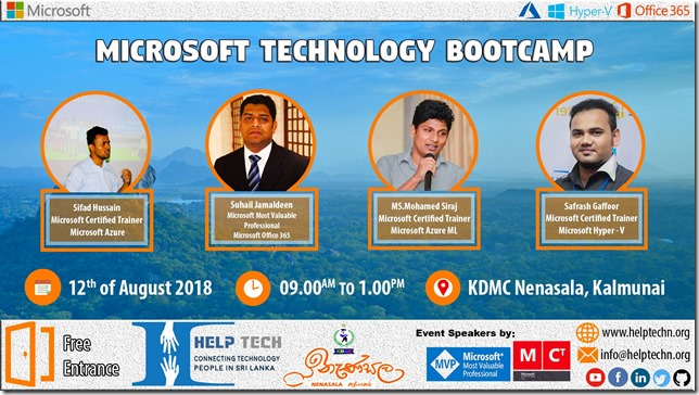 Microsoft Technology Bootcamp 2018 - Suhail Jamaldeen - SUhail Cloud