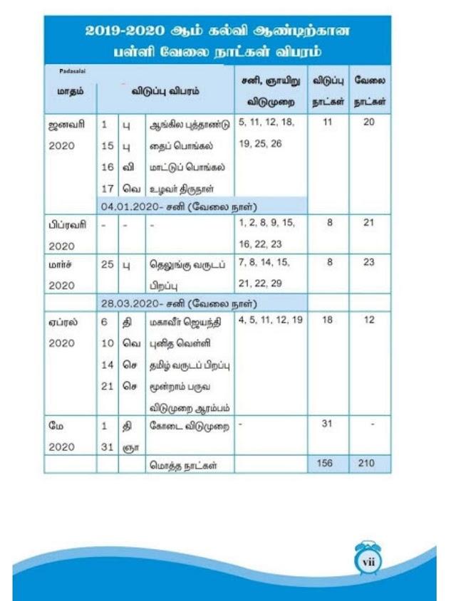 School Working Days Calendar 2019 - 2020