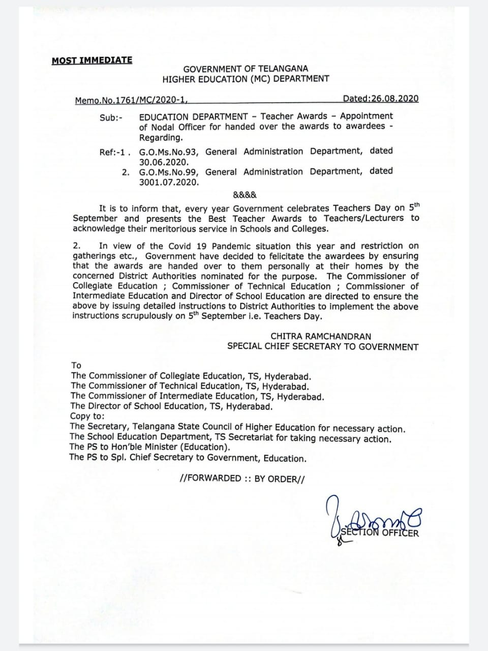 Appointment of Nodal Officer for handed over the awards to Teacher awardees Memo.No.1761/MC/2020-1, Dated:26.08.2020